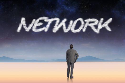 Network against serene landscape
