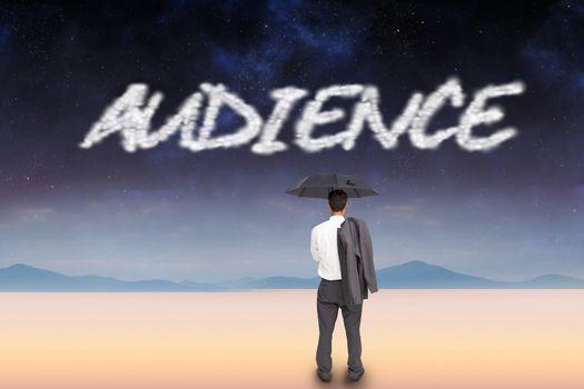 Audience against serene landscape