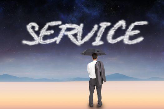 Service against serene landscape