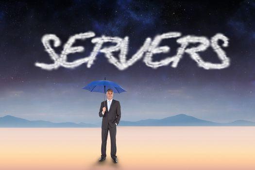 Servers against serene landscape