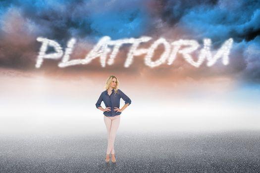 Platform against cloudy landscape background