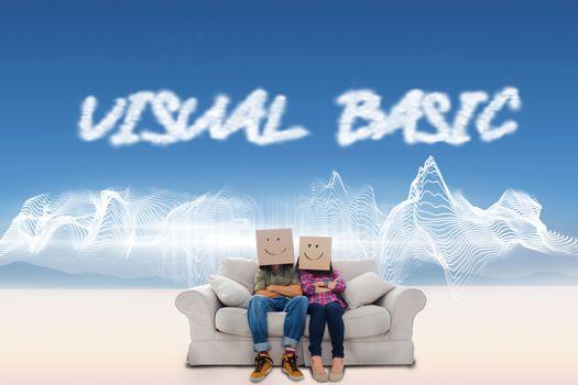 Visual basic against energy design over landscape