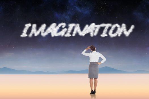 Imagination against serene landscape