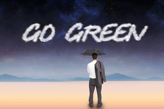 Go green against serene landscape