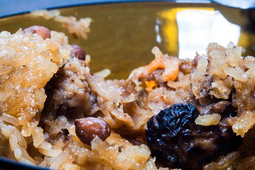 Close-up Unwrapped rice dumpling or zongzi