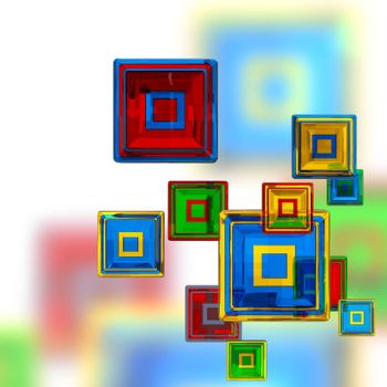 colorful cubes at four levels as abstract background