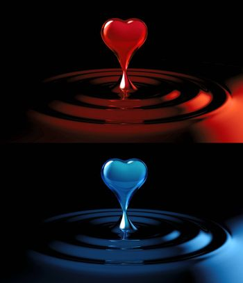 falling heart shaped water drop into the red water