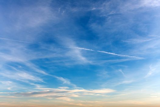 Sky with Airplane Exhaust Sreams