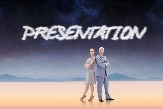 Presentation against serene landscape