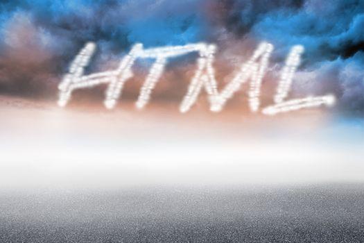 Html against cloudy landscape background