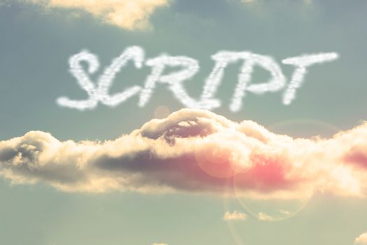 Script against bright blue sky with cloud