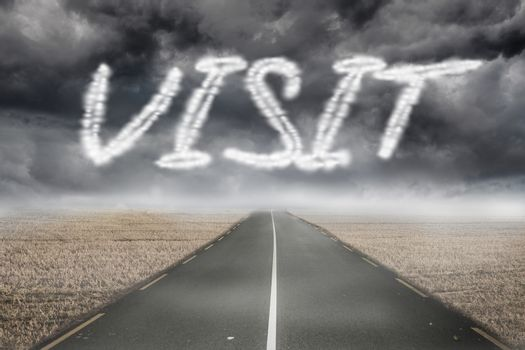 Visit against misty brown landscape with street