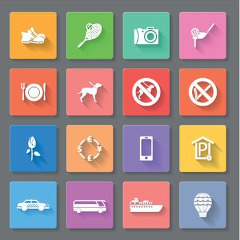 Set of flat icons for travelling, transportation and leisure