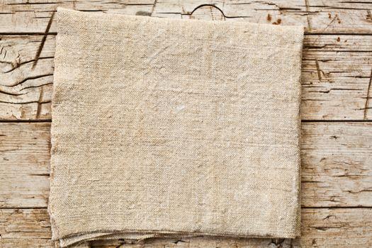 cotton napkin on old wooden table