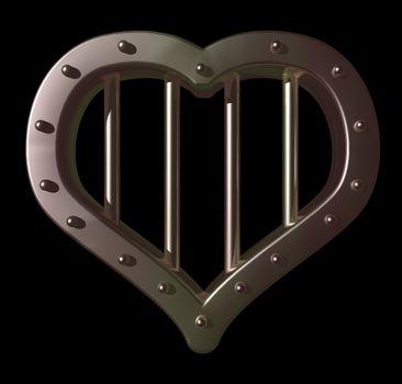 heart prison window on black background - 3d illustration