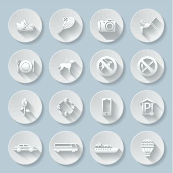 Set of flat paper icons for travelling, transportation and leisure