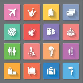 Set of flat icons for transportation, travelling and leisure
