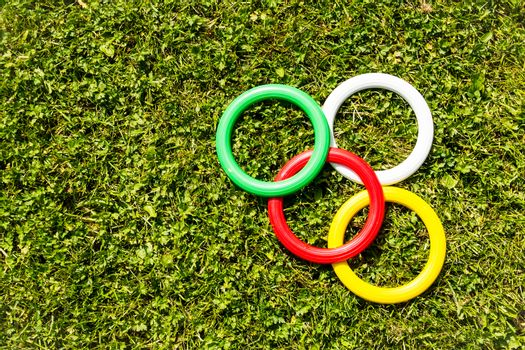 Plastic rings on the grass