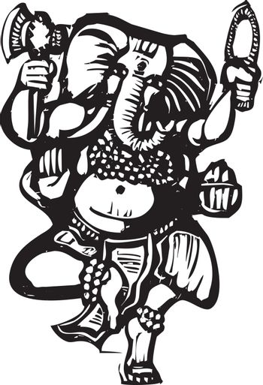 Woodcut style image of the Hindu God Ganesha