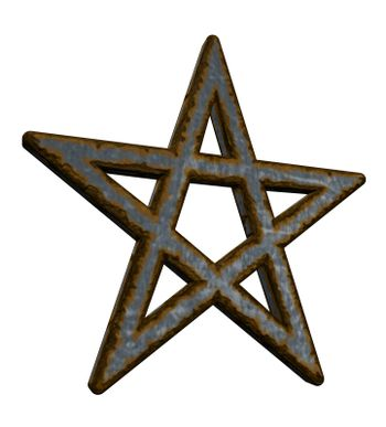 rusty pentacle on white background - 3d illustration