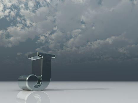 metal uppercase letter j under dark cloudy sky - 3d illustration