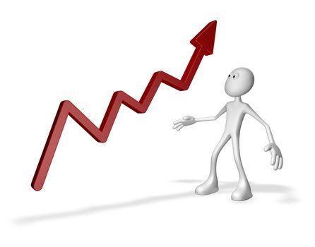 cartoon guy and business graph arrow - 3d illustration