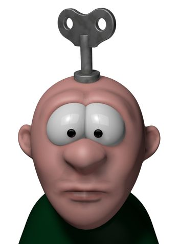 cartoon character with key to wind up on his head - 3d illustration