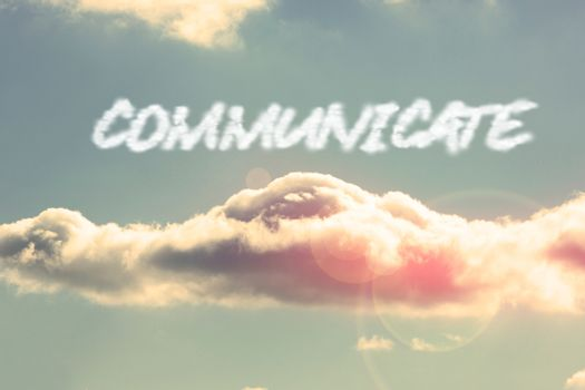 Communicate against bright blue sky with cloud