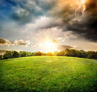 Bright lightning over field