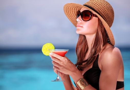Drink cocktail on the beach