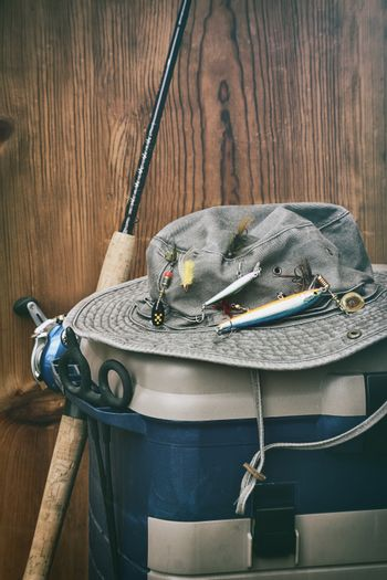 Hat with fishing equipment