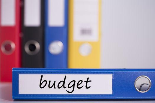 Budget on blue business binder