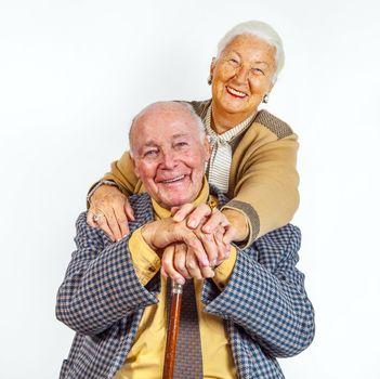 portrait of happy elderly senior couple