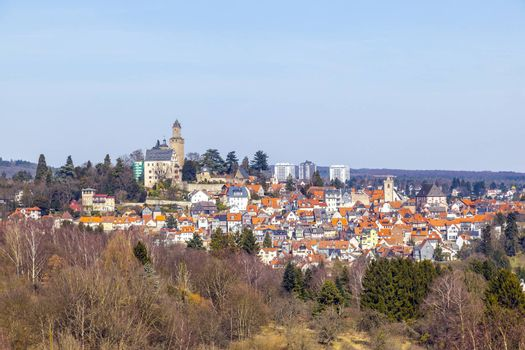 view to old town and castle of Kronberg,  Germany