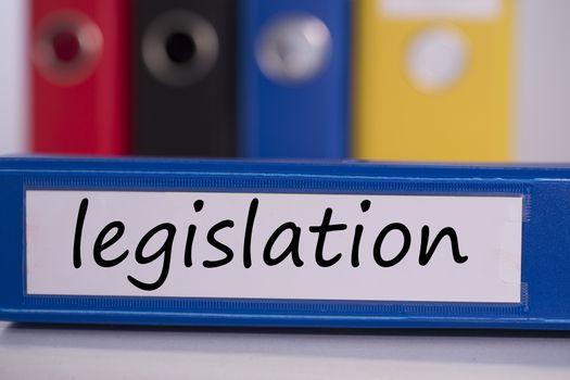 Legislation on blue business binder