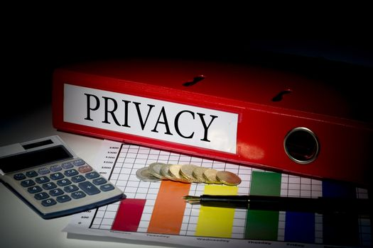 Privacy on red business binder