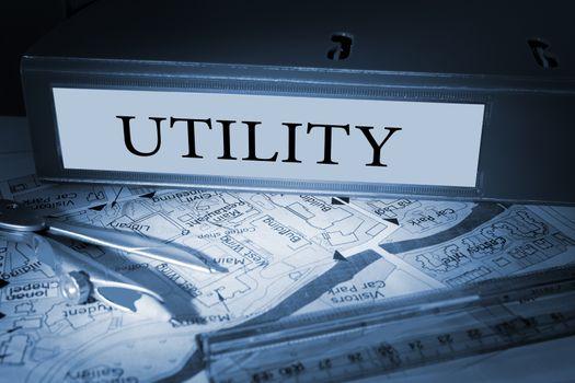 Utility on blue business binder