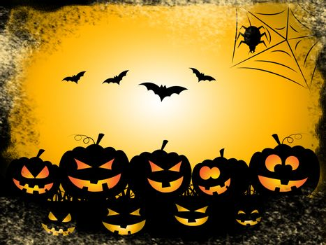 Halloween Bats Indicating Trick Or Treat And Horror Haunting