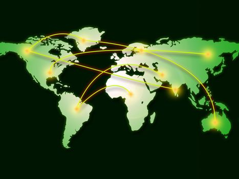 World Map Represents Computer Network And Cartography