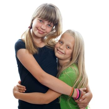 A couple of young female friends embracing each other