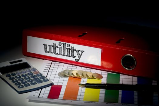 Utility on red business binder