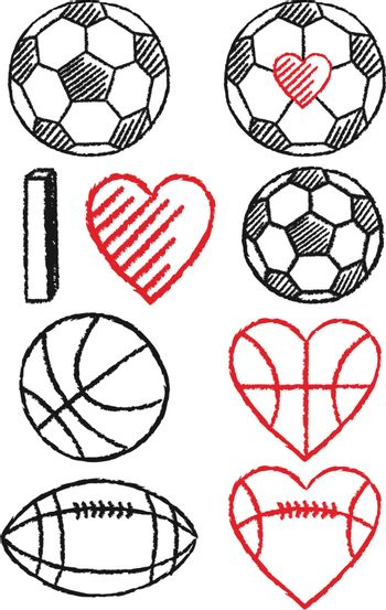 hand-drawn soccer, basketball, football and hearts, vector design elements