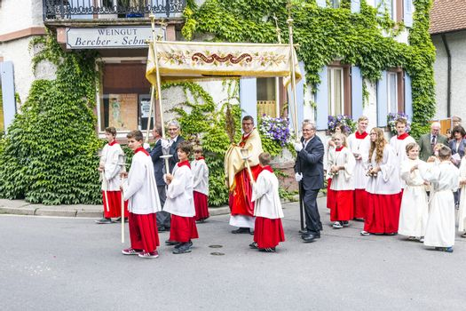 OBERROTWEIL, GERMANY - JUNE 29, 2014: Johannis procession in Oberrrotweil, Germany. The annual Johannis festival is dedicated to apostel Johannes and all people of the town take place.