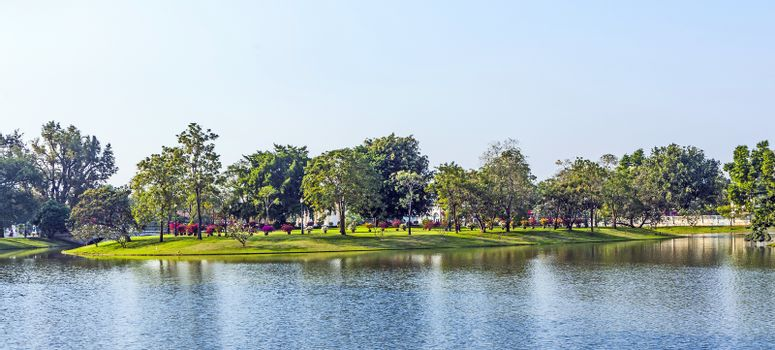artificial Island in the park in the Sommerpalace Bang Pa In of the King of Thailand near Ajuttaya