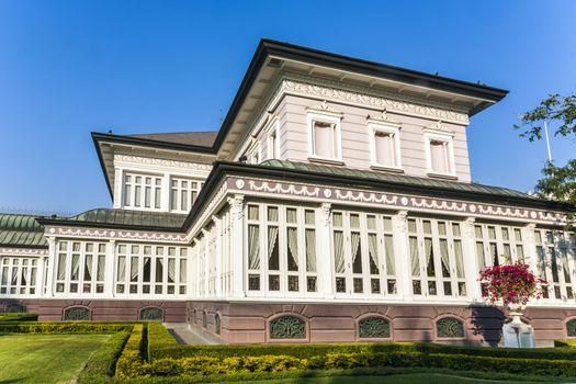 main residence building at Bang Pa-In Palace near Bangkok, Thailand (Summer Palace of the Thai king) near Ajuttaya