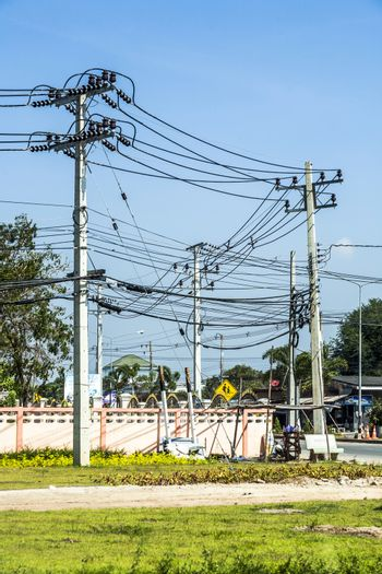aerial electric power cable in Asia