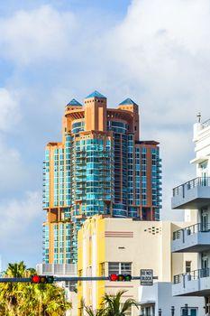 skyscraper detail against blue sky in South Florida