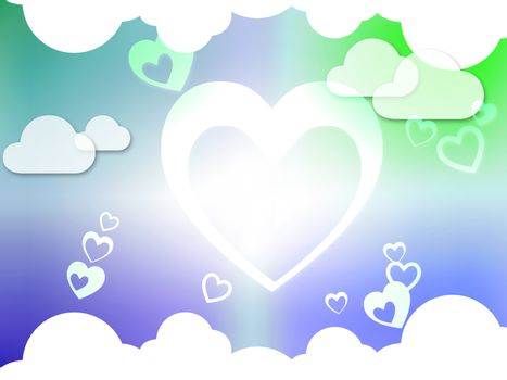 Hearts And Clouds Background Showing Passion  Love And Romance