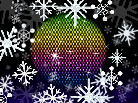 Snowflakes Ball Showing Colors Winter And Festivities