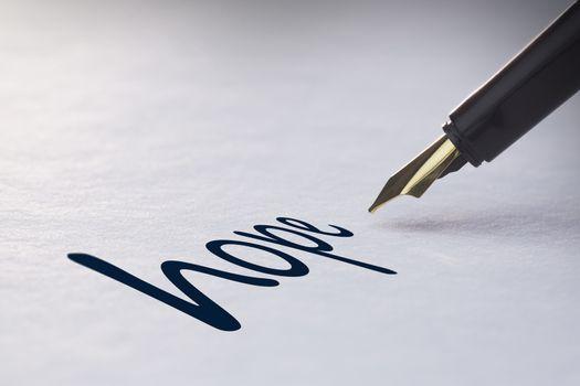 Fountain pen writing Hope